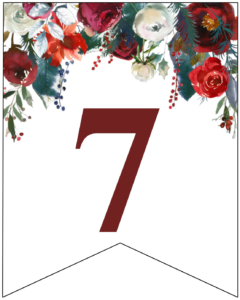 Number 7 Christmas pennant banner with red and green Christmas flowers