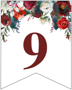 Number 9 Christmas pennant banner with red and green Christmas flowers