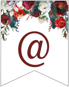 At sign Christmas pennant banner with red and green Christmas flowers