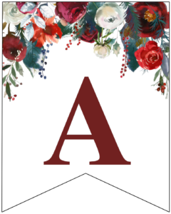 Letter A Christmas pennant banner with red and green Christmas flowers