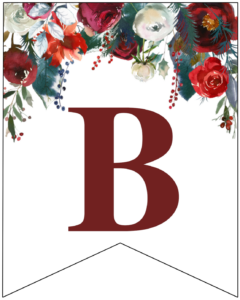 Letter B Christmas pennant banner with red and green Christmas flowers