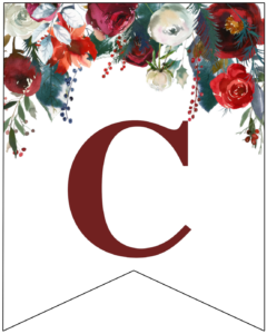 Letter C Christmas pennant banner with red and green Christmas flowers
