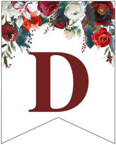 Letter D Christmas pennant banner with red and green Christmas flowers