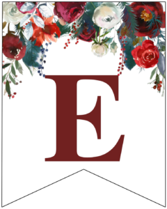 Letter E Christmas pennant banner with red and green Christmas flowers