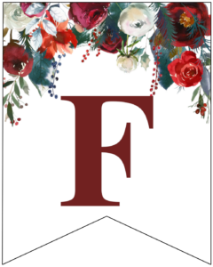 Letter F Christmas pennant banner with red and green Christmas flowers