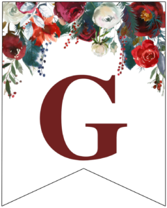 Letter G Christmas pennant banner with red and green Christmas flowers