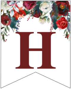 Letter H Christmas pennant banner with red and green Christmas flowers