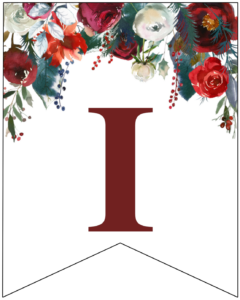 Letter I Christmas pennant banner with red and green Christmas flowers