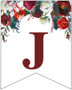 Letter J Christmas pennant banner with red and green Christmas flowers