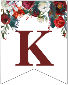 Letter K Christmas pennant banner with red and green Christmas flowers