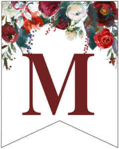 Letter M Christmas pennant banner with red and green Christmas flowers