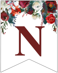 Letter N Christmas pennant banner with red and green Christmas flowers
