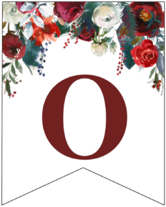 Letter O Christmas pennant banner with red and green Christmas flowers