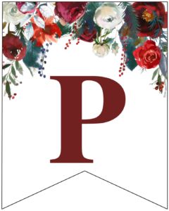 Letter P Christmas pennant banner with red and green Christmas flowers