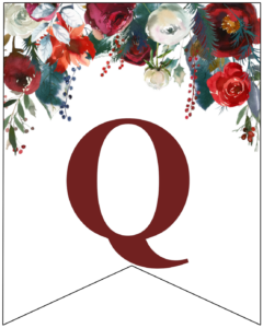Letter Q Christmas pennant banner with red and green Christmas flowers