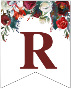 Letter R Christmas pennant banner with red and green Christmas flowers