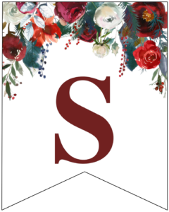 Letter S Christmas pennant banner with red and green Christmas flowers