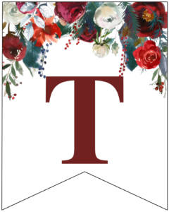 Letter T Christmas pennant banner with red and green Christmas flowers