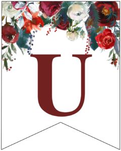 Letter U Christmas pennant banner with red and green Christmas flowers
