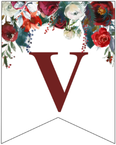 Letter V Christmas pennant banner with red and green Christmas flowers