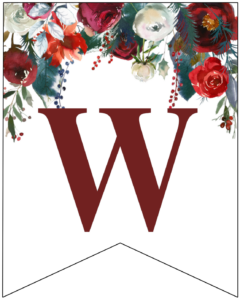 Letter W Christmas pennant banner with red and green Christmas flowers