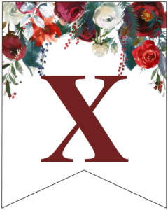 Letter X Christmas pennant banner with red and green Christmas flowers
