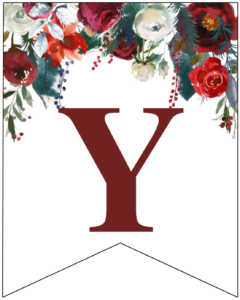 Letter Y Christmas pennant banner with red and green Christmas flowers