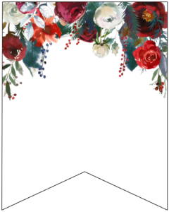 Blank Christmas pennant banner with red and green Christmas flowers