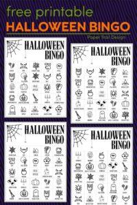 Halloween bingo cards with text overlay- free printable Halloween bingo