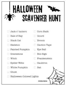 Halloween scavenger hunt for kids to find Halloween items in their neighborhood