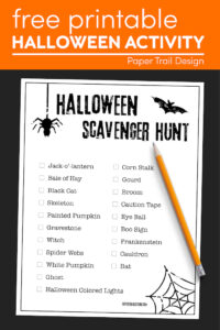 Printable scavenger hunt for Halloween with pencil with text overlay- free printable Halloween activity