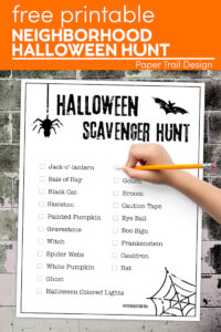 Free halloween scavenger hunt list with text overlay- free printable neighborhood Halloween hunt