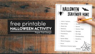 Halloween scavenger hunt printable for kids with kids hand holding pencil with text overlay- free printable Halloween activity