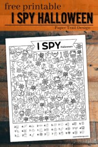Halloween themed I spy activity with text overlay- free printable I spy Halloween