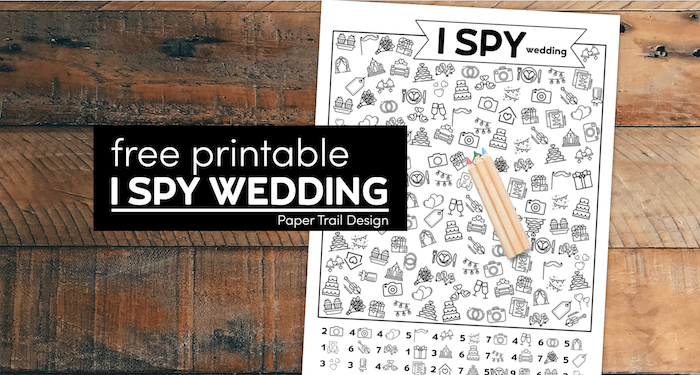 Wedding themed game for kids and colored pencils with text overlay free printable I spy wedding