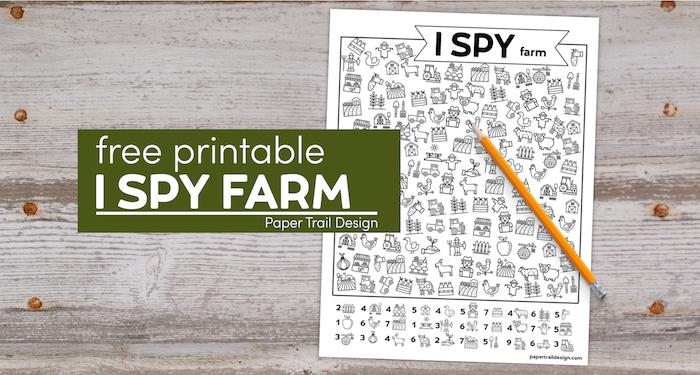 Farm Activity page I spy with pencil and text overlay- free printable I spy farm