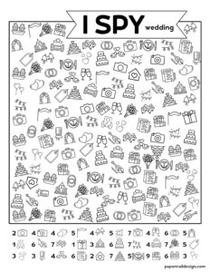 Wedding theme I spy game with pictures to find including rings, bouquet, decor, cameras, and more