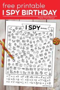 Birthday themed I spy activity with lolipop and candy with text overlay free printable I spy birthday