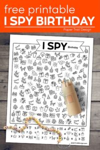 I spy birthday activity with cheerio necklace and colored pencils with text overlay- free printable I spy birthday