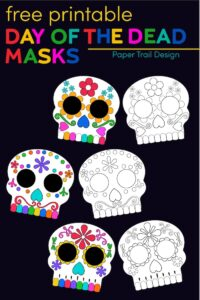 Sugar skull Day of the Dead masks in color and black and white for coloring in with text overlay- free printable Day of the Dead masks