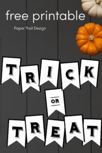 Trick or treat Halloween banner with pumpkins with text overlay- free printable