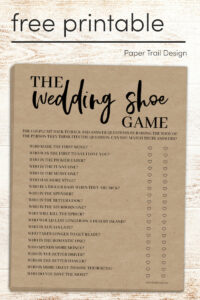 wedding shoe game funny questions on printable page with text overlay- free printable