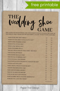 Wedding shoe game questions on printable page with text overlay-free printable