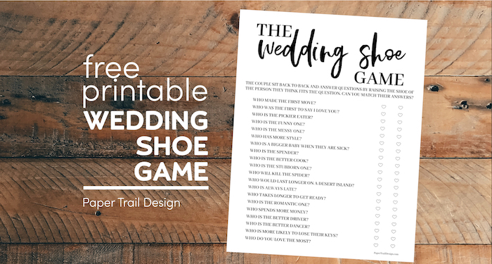 The wedding shoe game free printable page with text overlay- free printable the wedding shoe game
