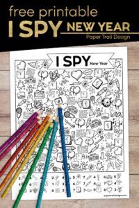I spy New year themed activity with colored pencils with text overlay- free printable I spy new year