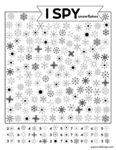 Snowflake themed kids I spy activity page with various snowflakes to find throughout the page