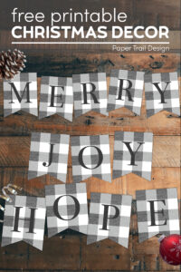 Rustic Christmas banner letter signs with text overlay- free printable Christmas decor