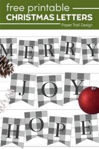 Gray and white plaid banner sign merry, joy, and hope with text overlay- free printable Christmas letters