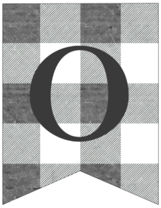 Number 0 gray and white plaid buffalo check banner pennant free printable.