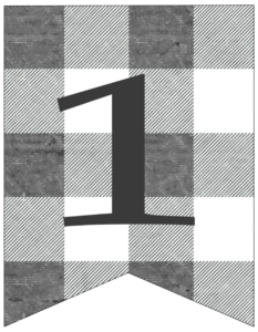 Number 1 gray and white plaid buffalo check banner pennant free printable.